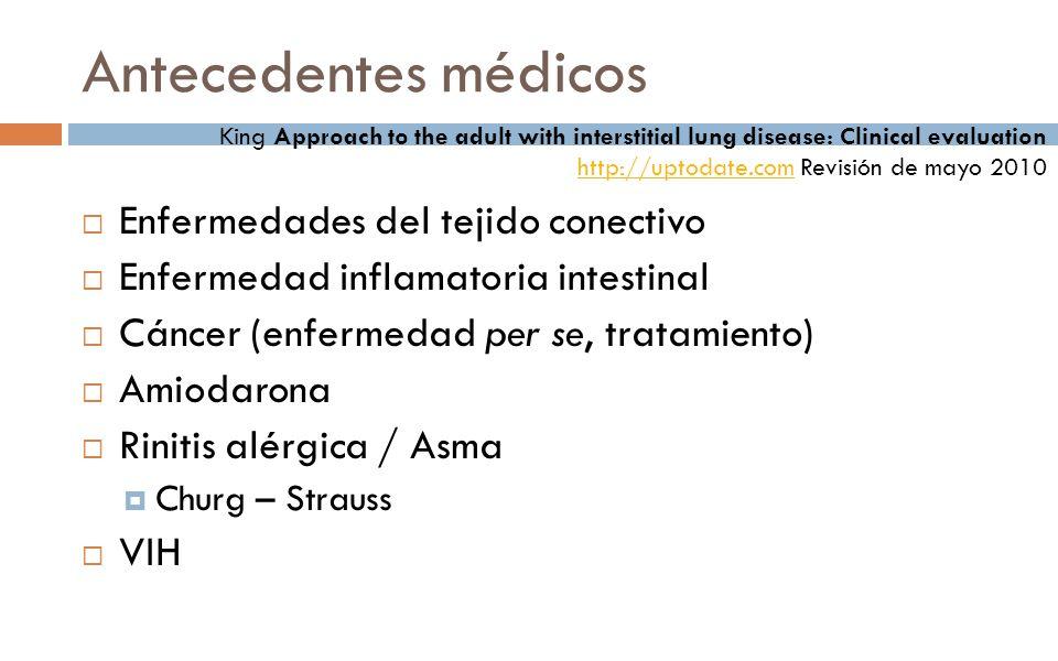 Antecedentes médicos Enfermedades del tejido conectivo