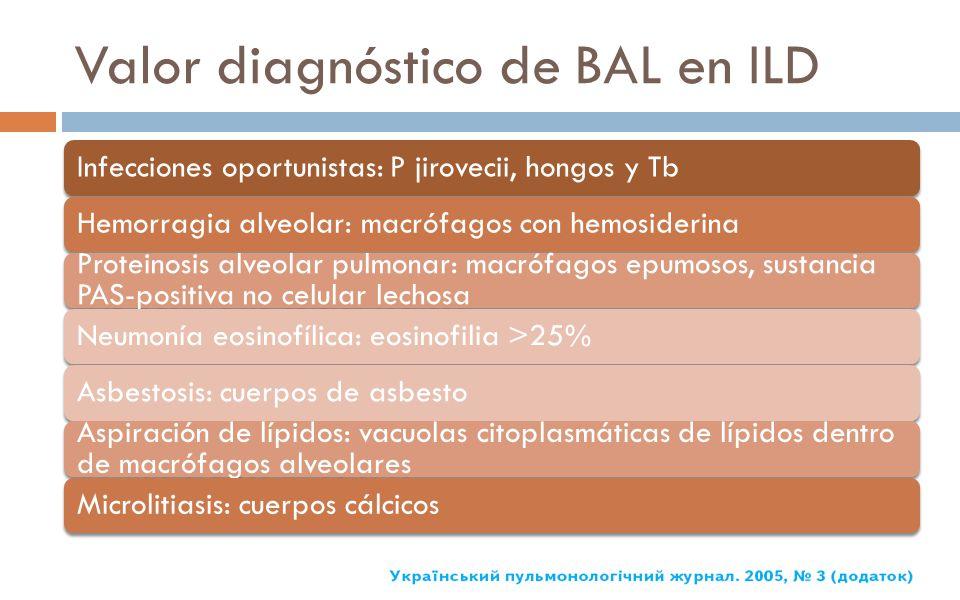 Valor diagnóstico de BAL en ILD