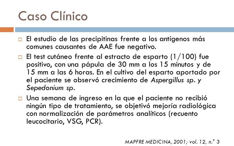Caso Clínico El estudio de las precipitinas frente a los antígenos más comunes causantes de AAE fue negativo.