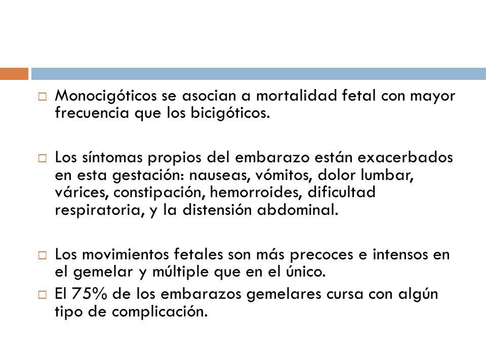 Monocigóticos se asocian a mortalidad fetal con mayor frecuencia que los bicigóticos.