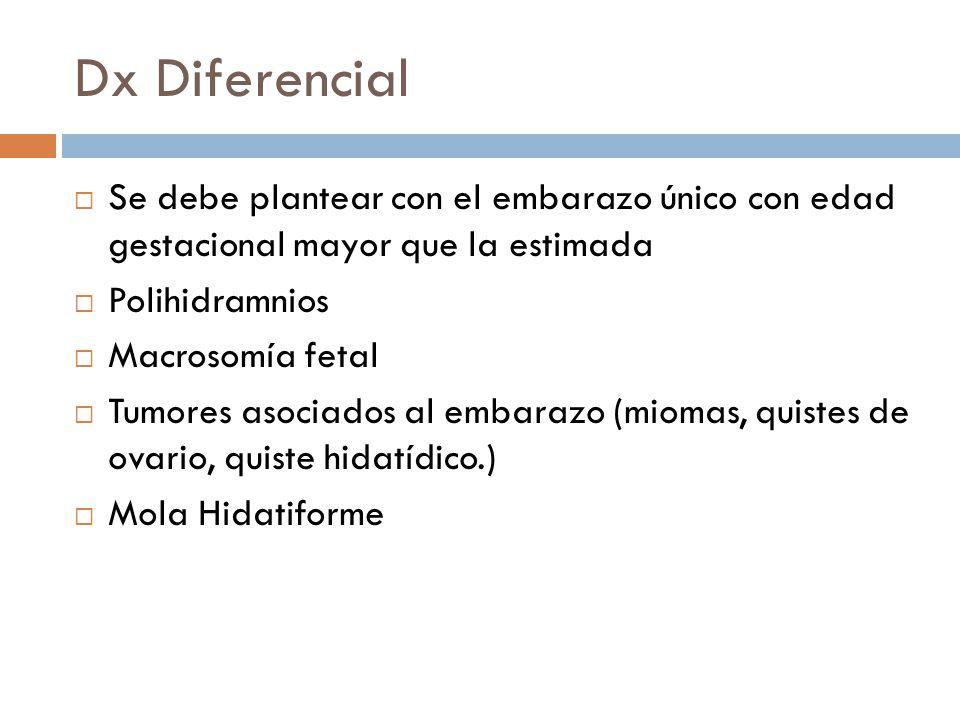 Dx Diferencial Se debe plantear con el embarazo único con edad gestacional mayor que la estimada. Polihidramnios.
