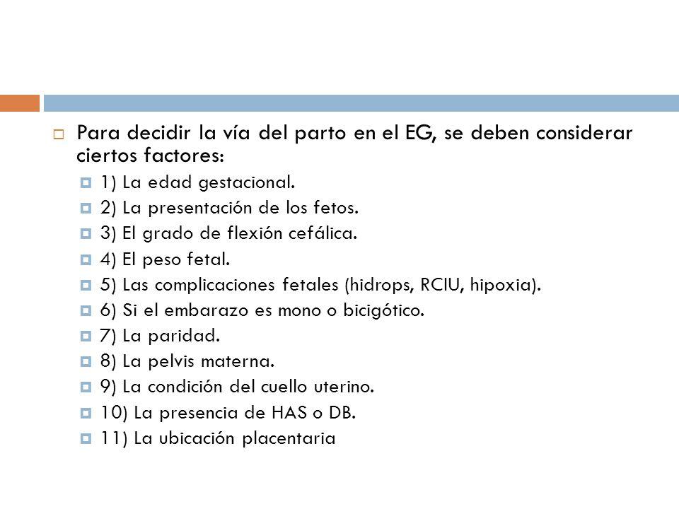 Para decidir la vía del parto en el EG, se deben considerar ciertos factores:
