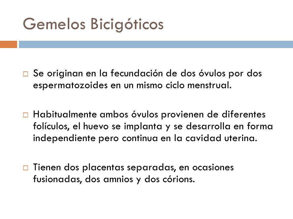 Gemelos Bicigóticos Se originan en la fecundación de dos óvulos por dos espermatozoides en un mismo ciclo menstrual.
