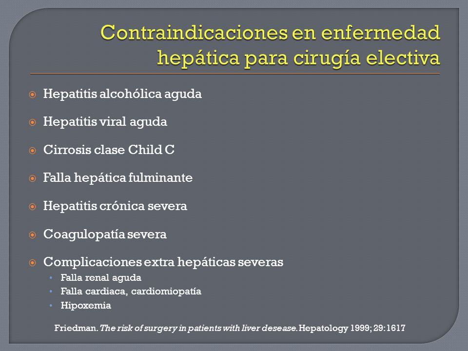 Contraindicaciones en enfermedad hepática para cirugía electiva