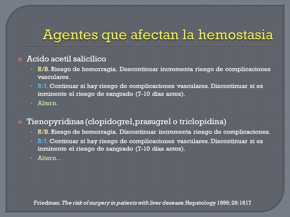 Agentes que afectan la hemostasia