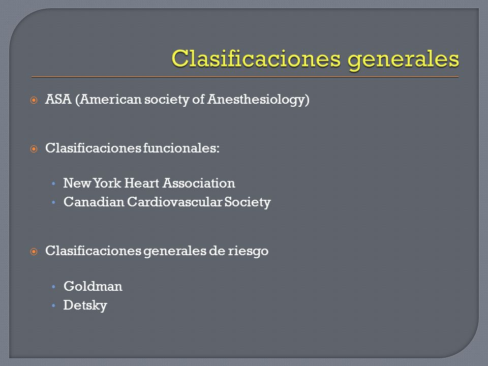 Clasificaciones generales