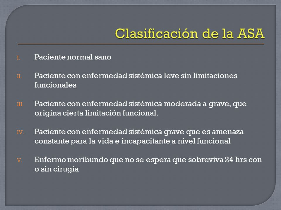 Clasificación de la ASA