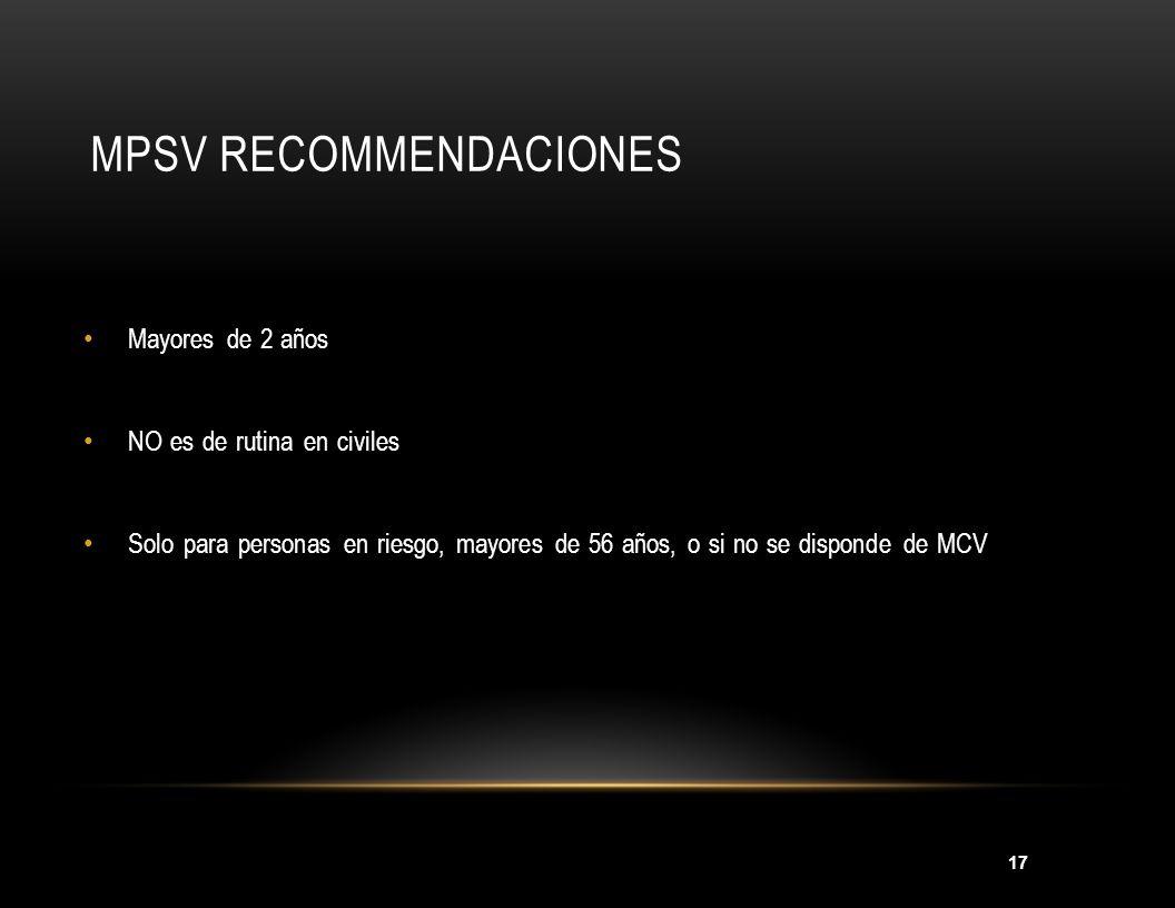 MPSV Recommendaciones