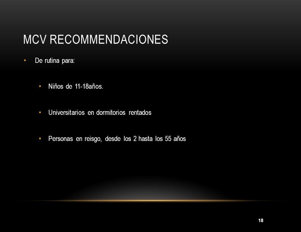 MCV Recommendaciones MMWR 2005; 54(RR-7);1-21 De rutina para: