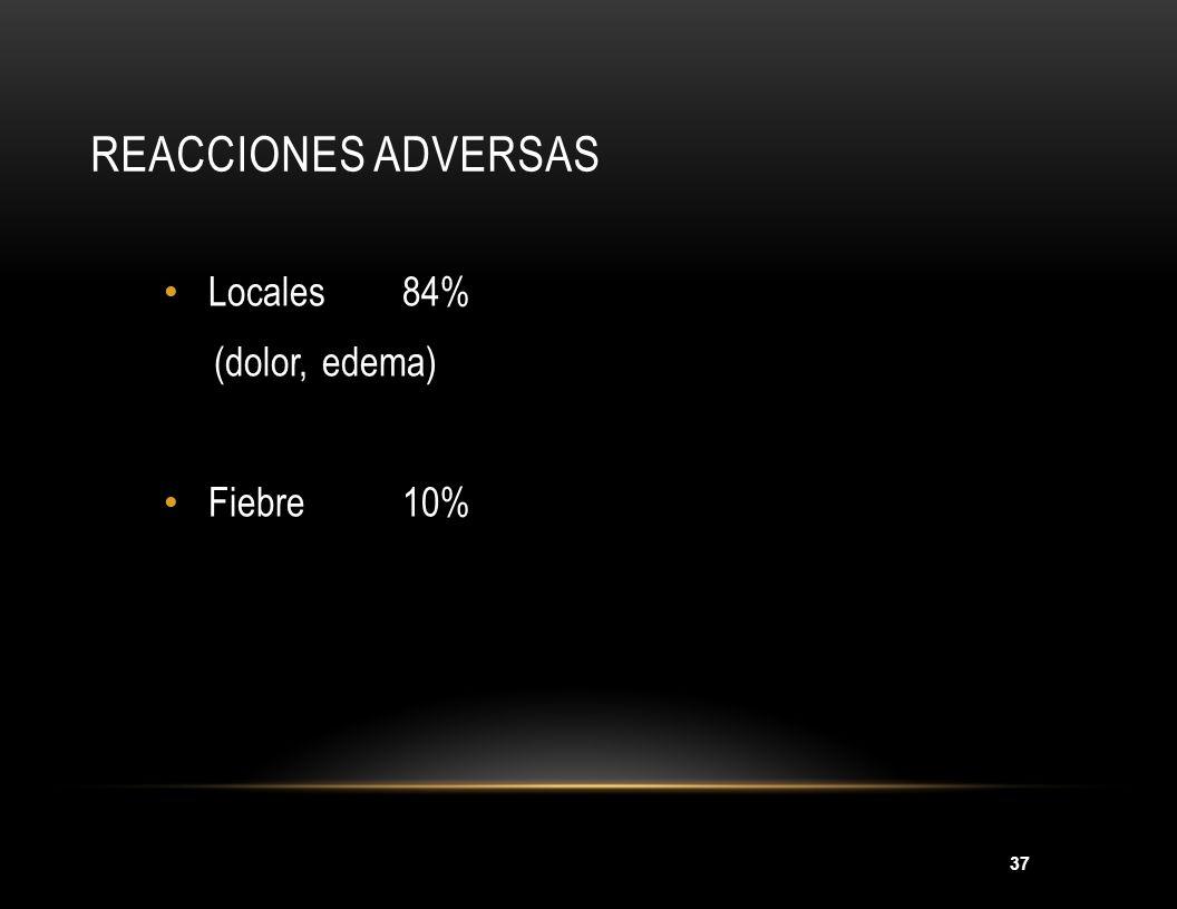 Reacciones adversas Locales 84% (dolor, edema) Fiebre 10%