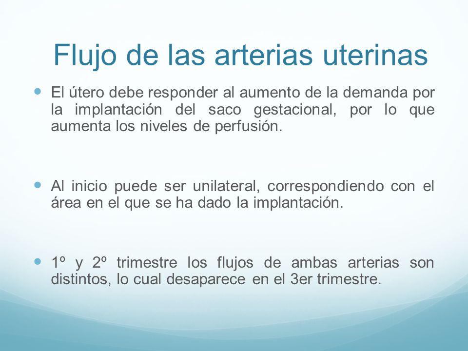 Flujo de las arterias uterinas
