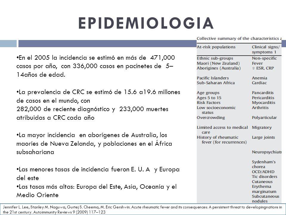 EPIDEMIOLOGIA En el 2005 la incidencia se estimó en más de 471,000 casos por año, con 336,000 casos en pacinetes de 5–14años de edad.