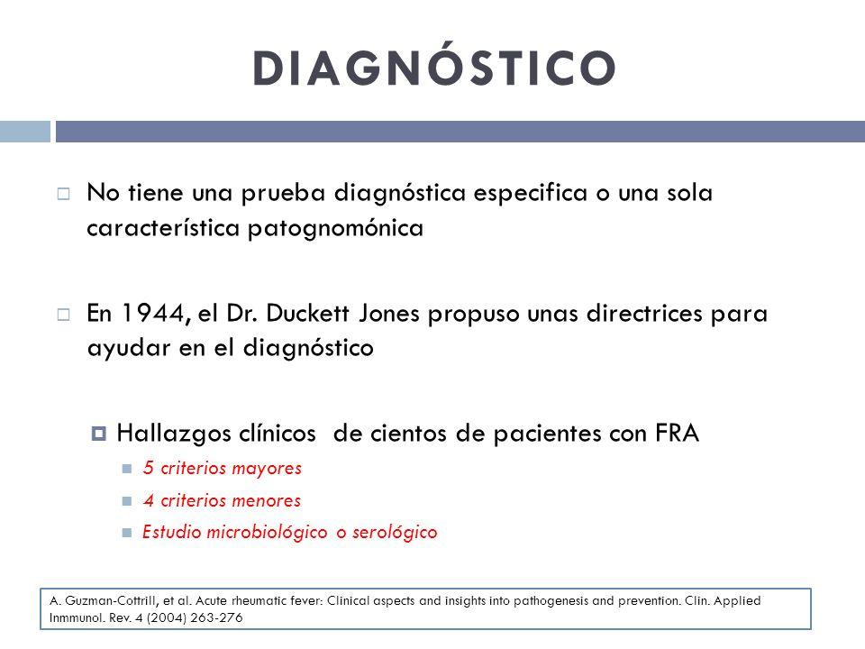 DIAGNÓSTICO No tiene una prueba diagnóstica especifica o una sola característica patognomónica.