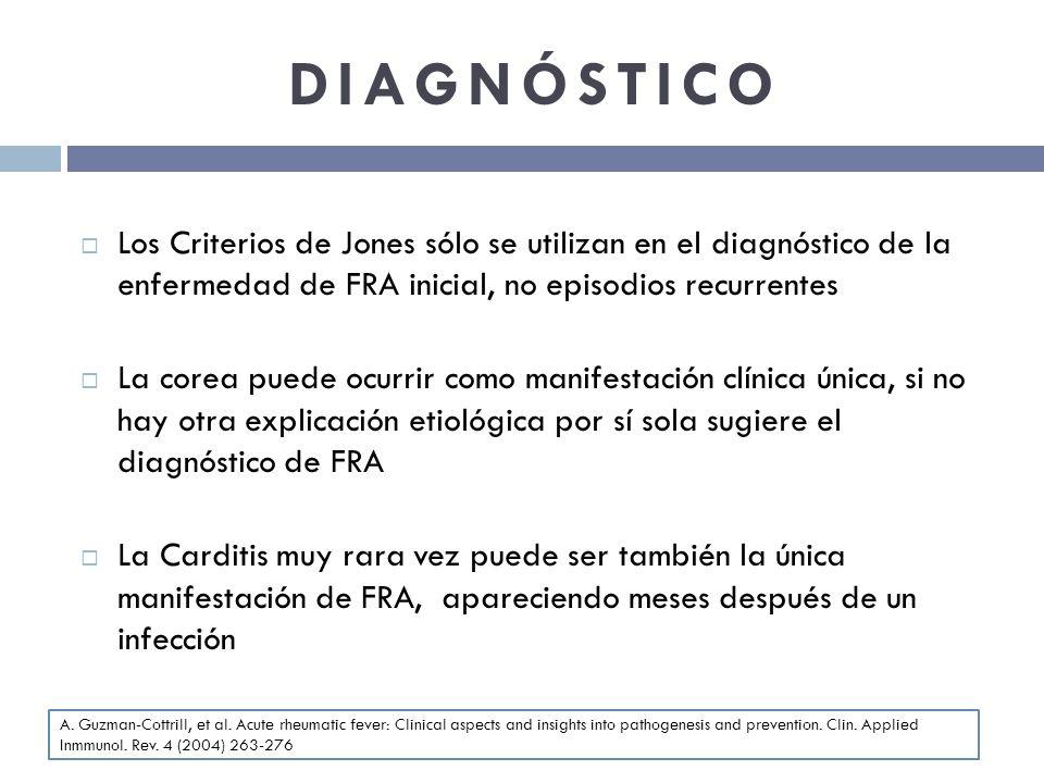 DIAGNÓSTICO Los Criterios de Jones sólo se utilizan en el diagnóstico de la enfermedad de FRA inicial, no episodios recurrentes.
