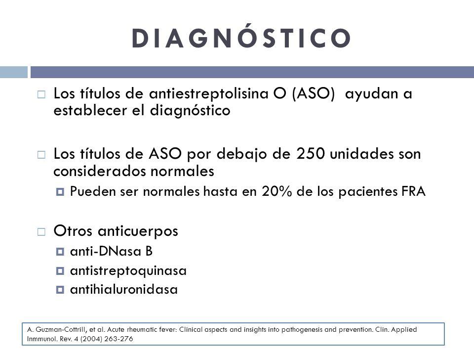 DIAGNÓSTICO Los títulos de antiestreptolisina O (ASO) ayudan a establecer el diagnóstico.