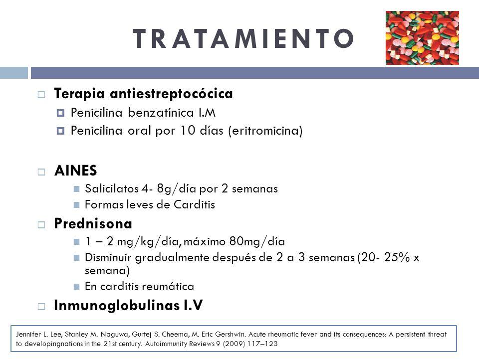 TRATAMIENTO Terapia antiestreptocócica AINES Prednisona