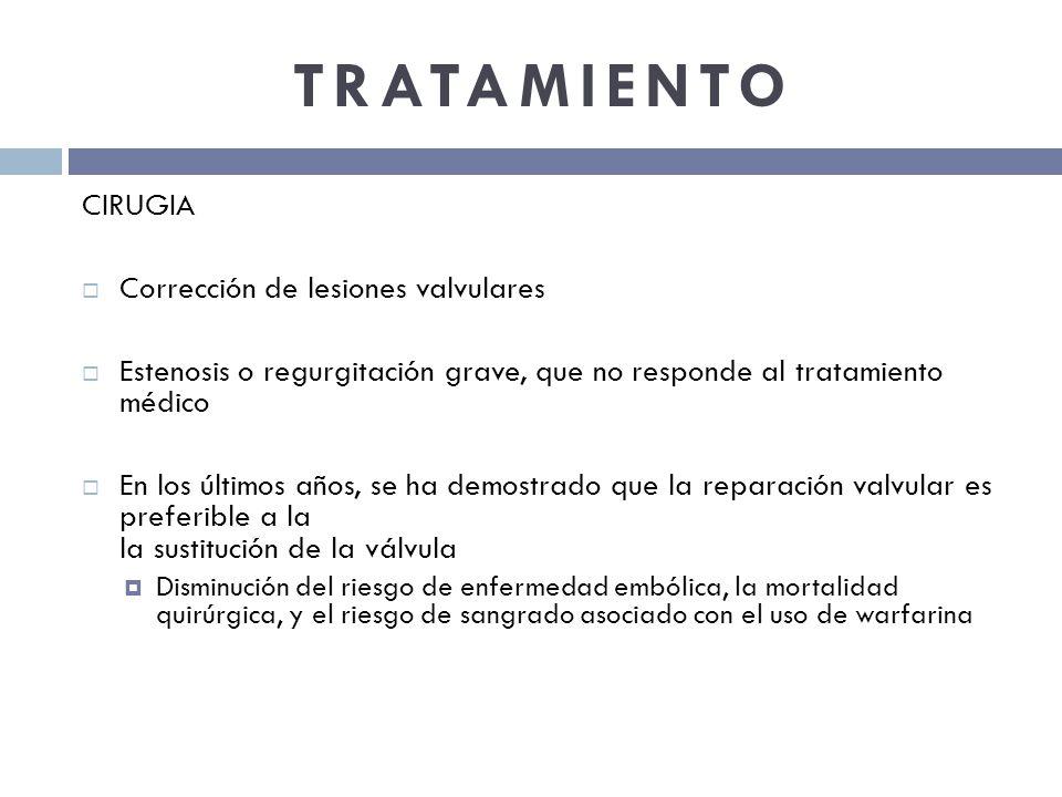 TRATAMIENTO CIRUGIA Corrección de lesiones valvulares