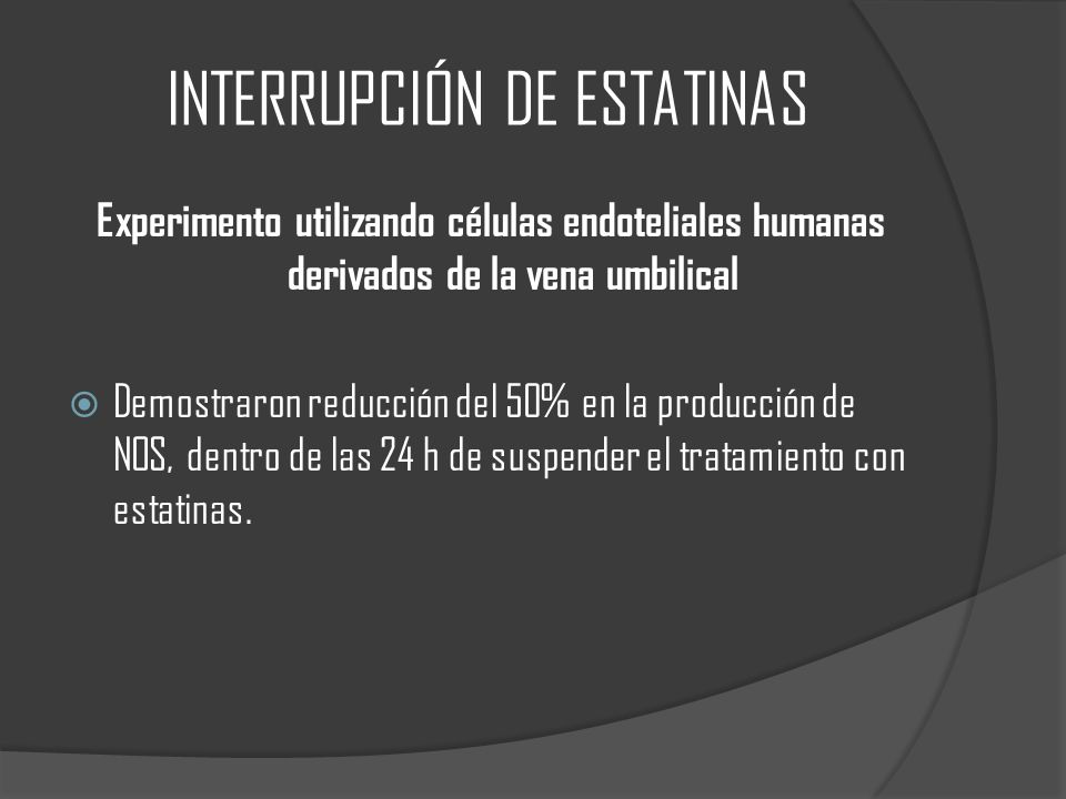 INTERRUPCIÓN DE ESTATINAS