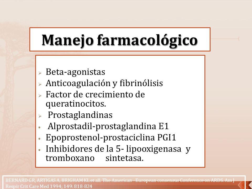 Manejo farmacológico Beta-agonistas Anticoagulación y fibrinólisis