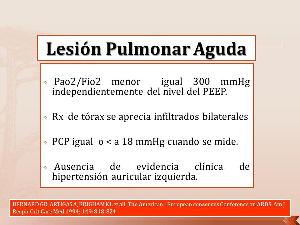 Lesión Pulmonar Aguda Pao2/Fio2 menor igual 300 mmHg independientemente del nivel del PEEP. Rx de tórax se aprecia infiltrados bilaterales.