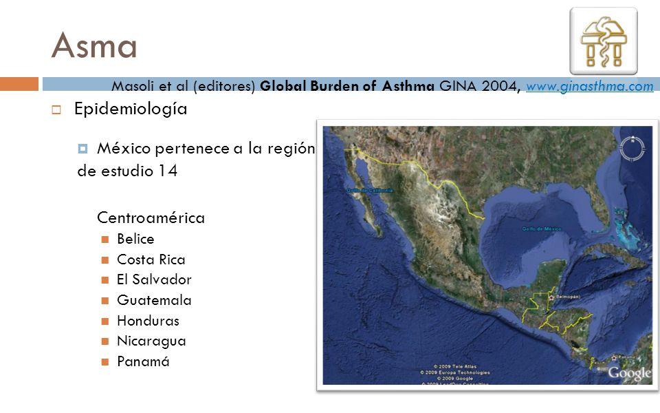 Asma Epidemiología México pertenece a la región de estudio 14