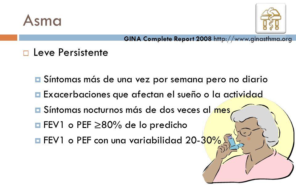 Asma GINA Complete Report 2008 http://www.ginasthma.org. Leve Persistente. Síntomas más de una vez por semana pero no diario.