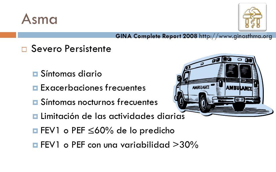 Asma Severo Persistente Síntomas diario Exacerbaciones frecuentes