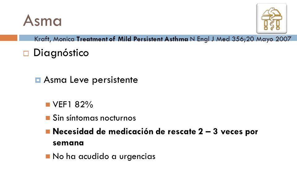 Asma Diagnóstico Asma Leve persistente VEF1 82% Sin síntomas nocturnos