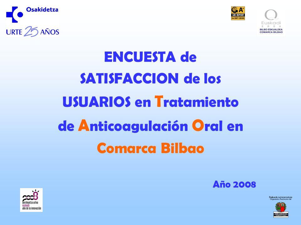 ENCUESTA de SATISFACCION de los USUARIOS en Tratamiento de Anticoagulación Oral en Comarca Bilbao