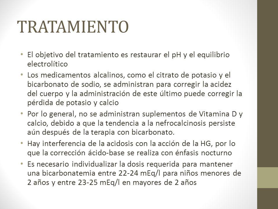 TRATAMIENTO El objetivo del tratamiento es restaurar el pH y el equilibrio electrolítico.