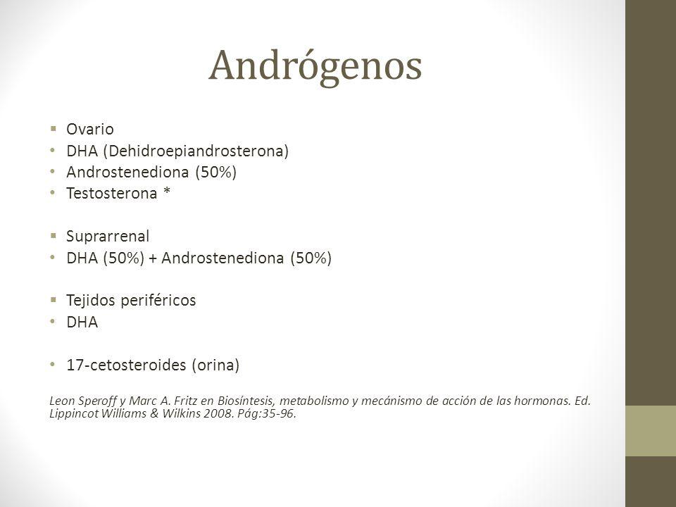 Andrógenos Ovario DHA (Dehidroepiandrosterona) Androstenediona (50%)