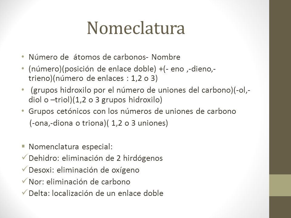 Nomeclatura Número de átomos de carbonos- Nombre