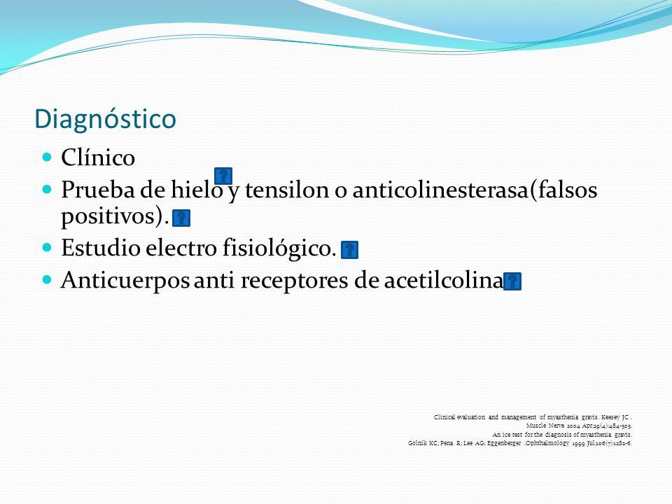 Diagnóstico Clínico. Prueba de hielo y tensilon o anticolinesterasa(falsos positivos). Estudio electro fisiológico.