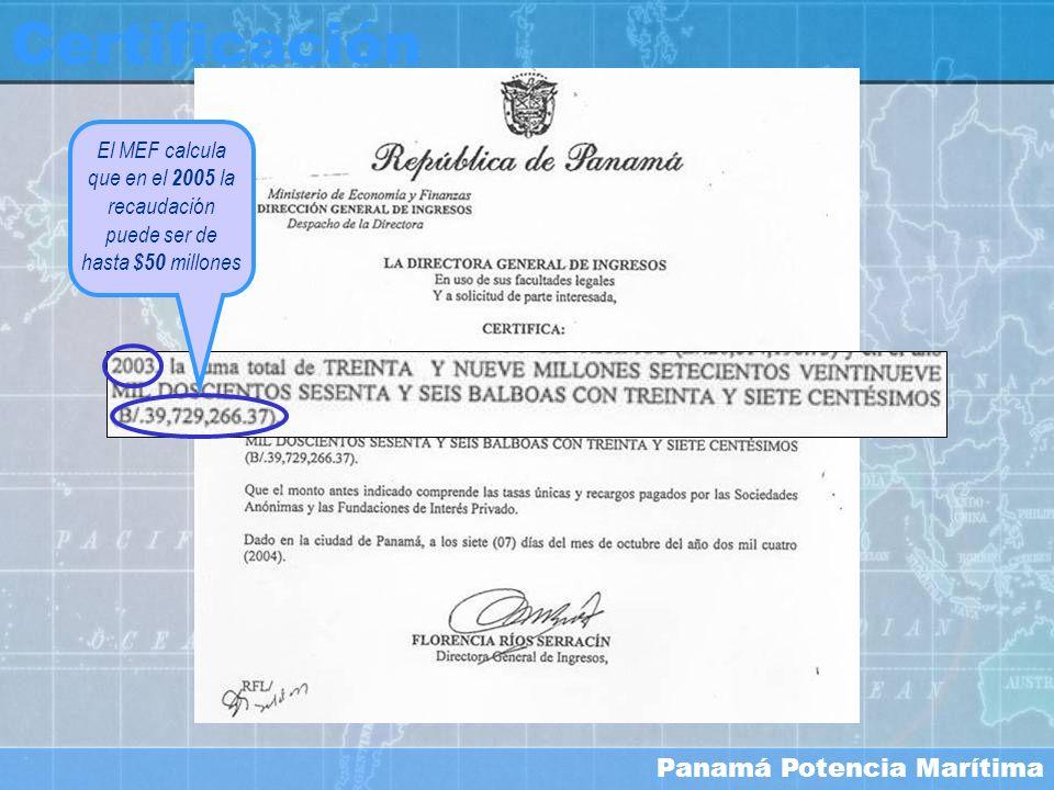 Certificación El MEF calcula que en el 2005 la recaudación puede ser de hasta $50 millones