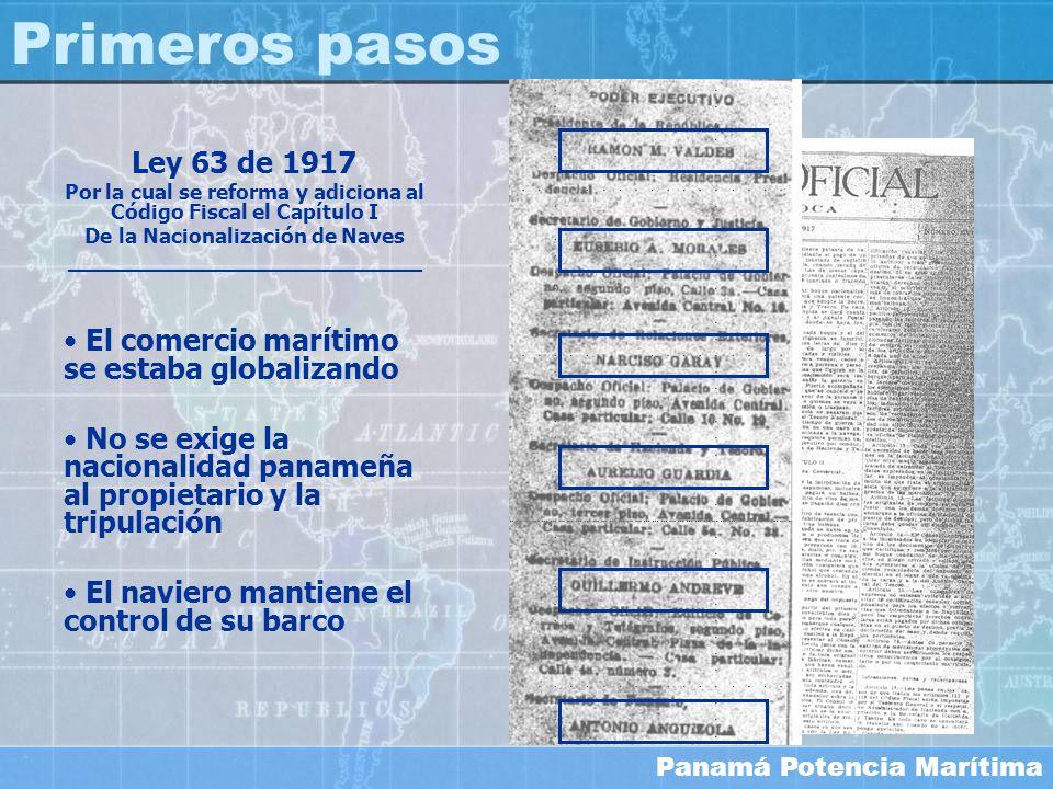 Primeros pasosLey 63 de 1917. Por la cual se reforma y adiciona al Código Fiscal el Capítulo I. De la Nacionalización de Naves.