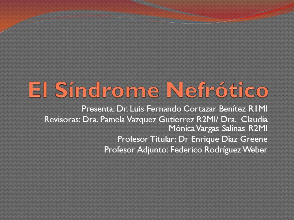 El Síndrome Nefrótico Presenta: Dr. Luis Fernando Cortazar Benítez R1MI.