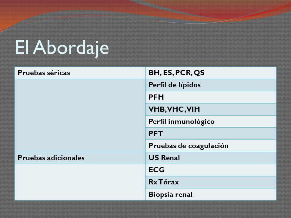 El Abordaje Pruebas séricas BH, ES, PCR, QS Perfil de lípidos PFH