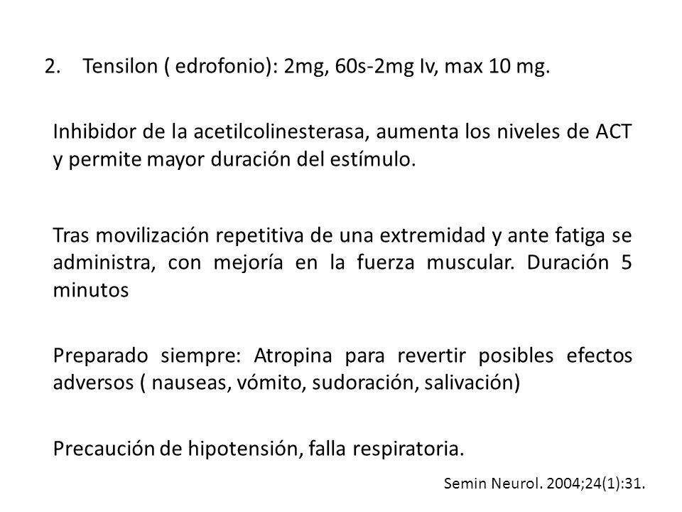Tensilon ( edrofonio): 2mg, 60s-2mg Iv, max 10 mg.