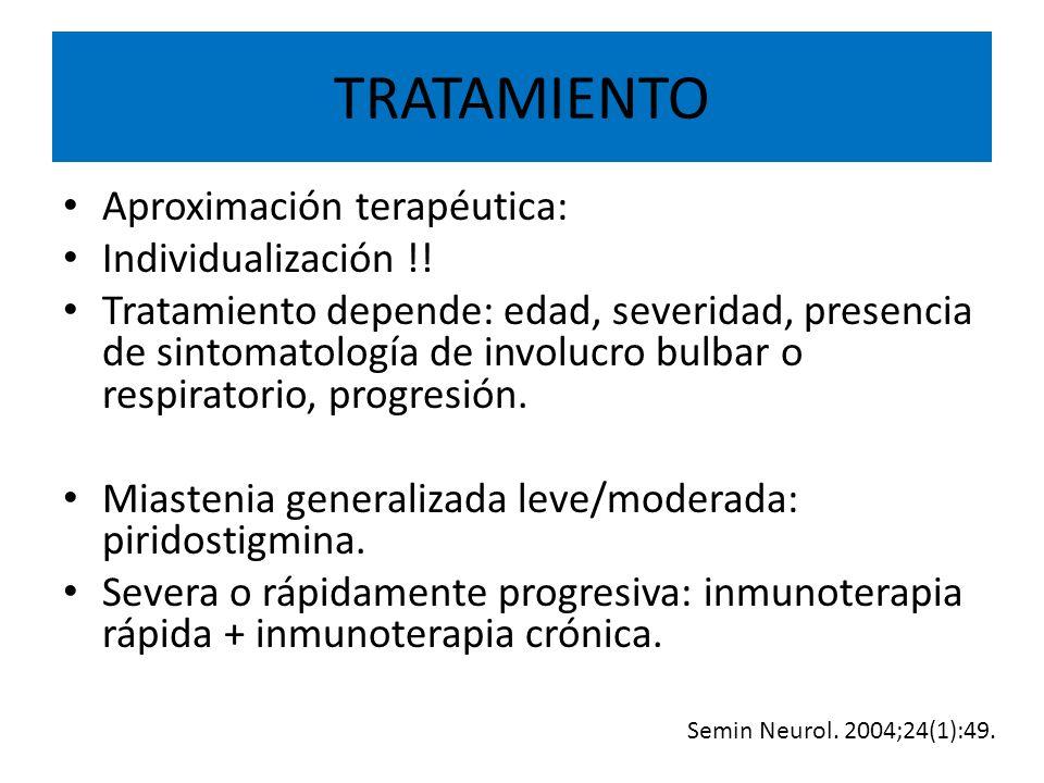 TRATAMIENTO Aproximación terapéutica: Individualización !!