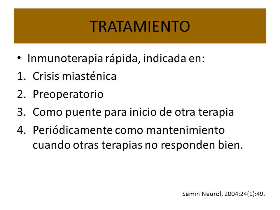 TRATAMIENTO Inmunoterapia rápida, indicada en: Crisis miasténica