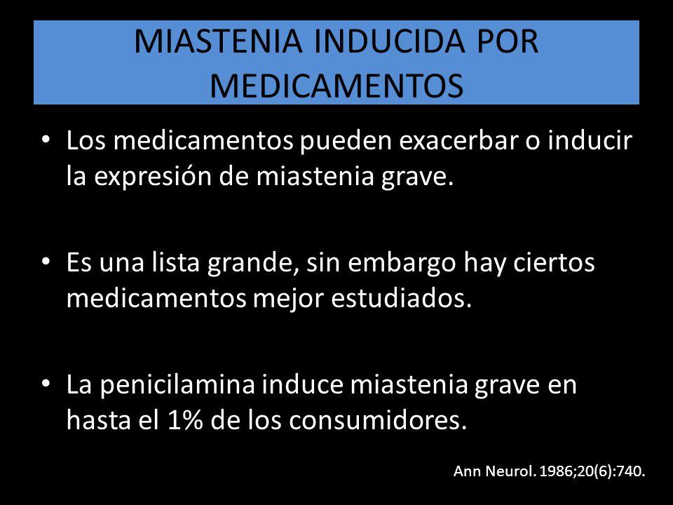 MIASTENIA INDUCIDA POR MEDICAMENTOS