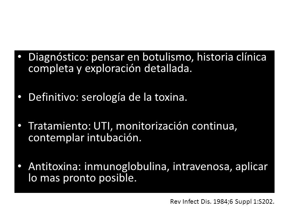 Definitivo: serología de la toxina.