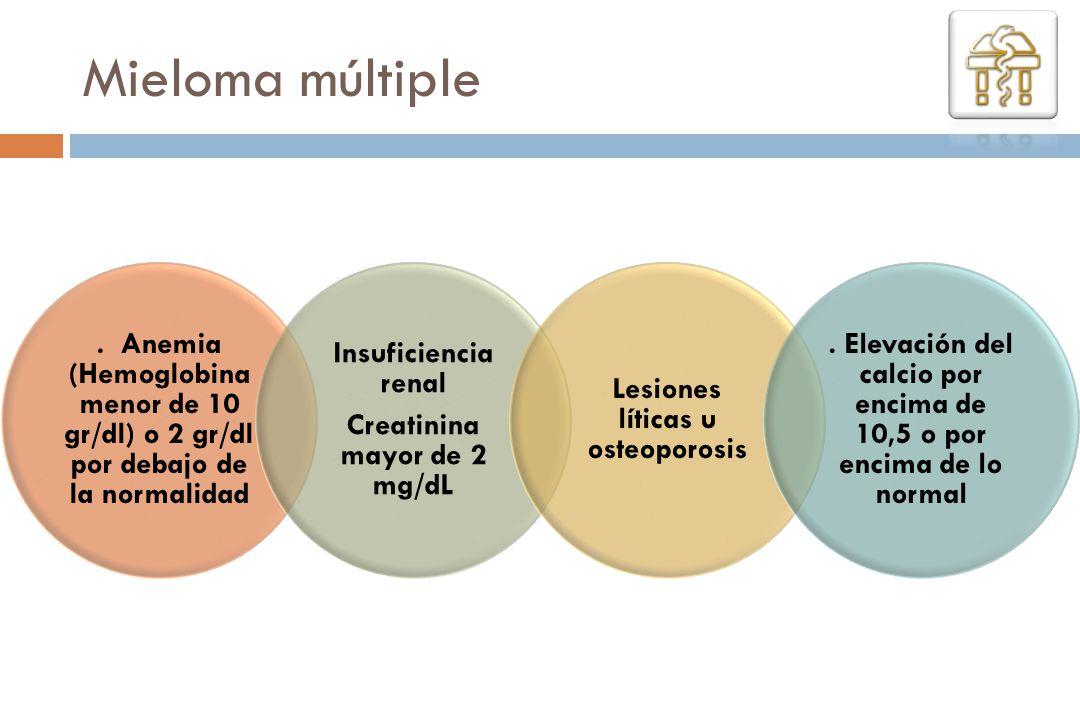 Mieloma múltiple . Anemia (Hemoglobina menor de 10 gr/dl) o 2 gr/dl por debajo de la normalidad. Creatinina mayor de 2 mg/dL.