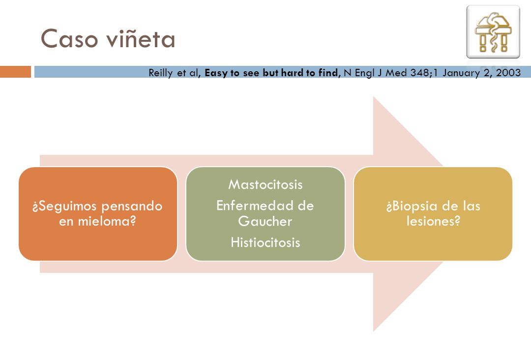 Caso viñeta Reilly et al, Easy to see but hard to find, N Engl J Med 348;1 January 2, 2003. ¿Seguimos pensando en mieloma