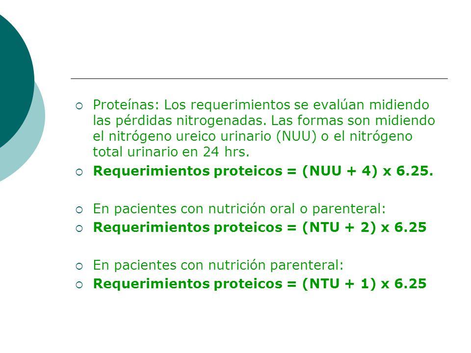 Proteínas: Los requerimientos se evalúan midiendo las pérdidas nitrogenadas. Las formas son midiendo el nitrógeno ureico urinario (NUU) o el nitrógeno total urinario en 24 hrs.