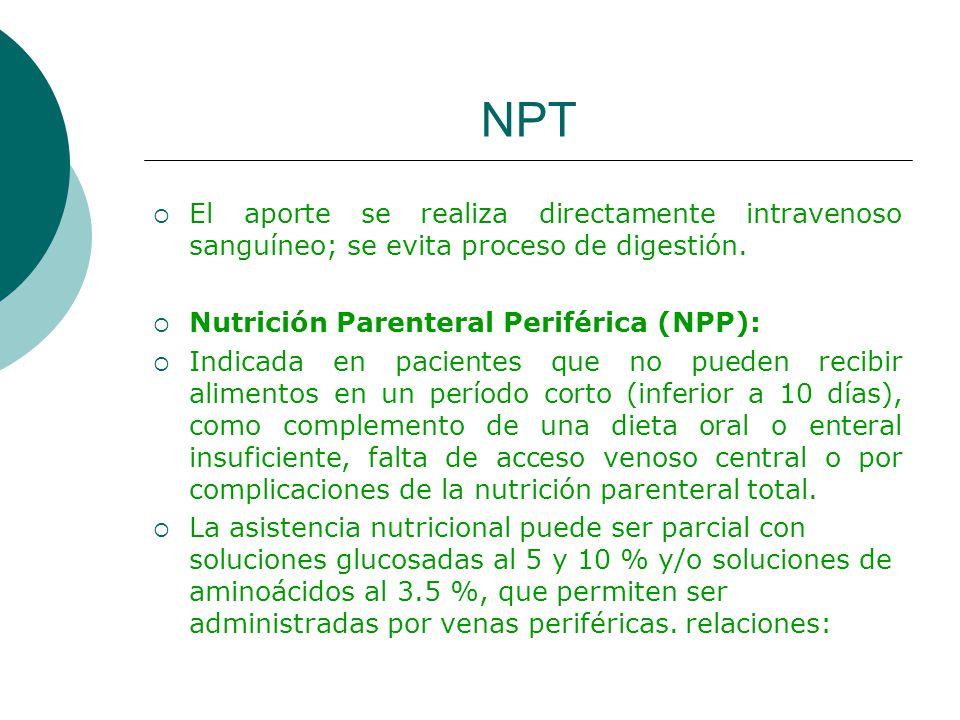 NPT El aporte se realiza directamente intravenoso sanguíneo; se evita proceso de digestión. Nutrición Parenteral Periférica (NPP):