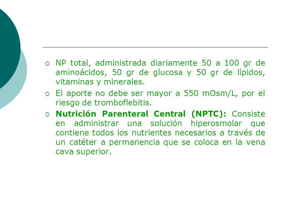 NP total, administrada diariamente 50 a 100 gr de aminoácidos, 50 gr de glucosa y 50 gr de lípidos, vitaminas y minerales.