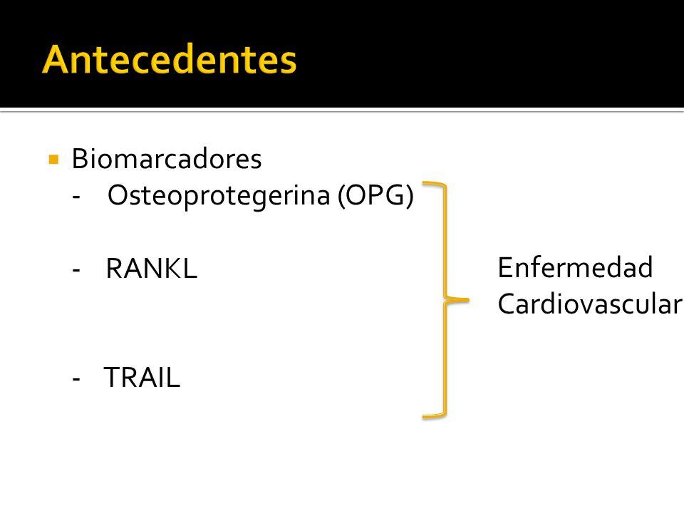 Antecedentes Biomarcadores - Osteoprotegerina (OPG) - RANKL - TRAIL