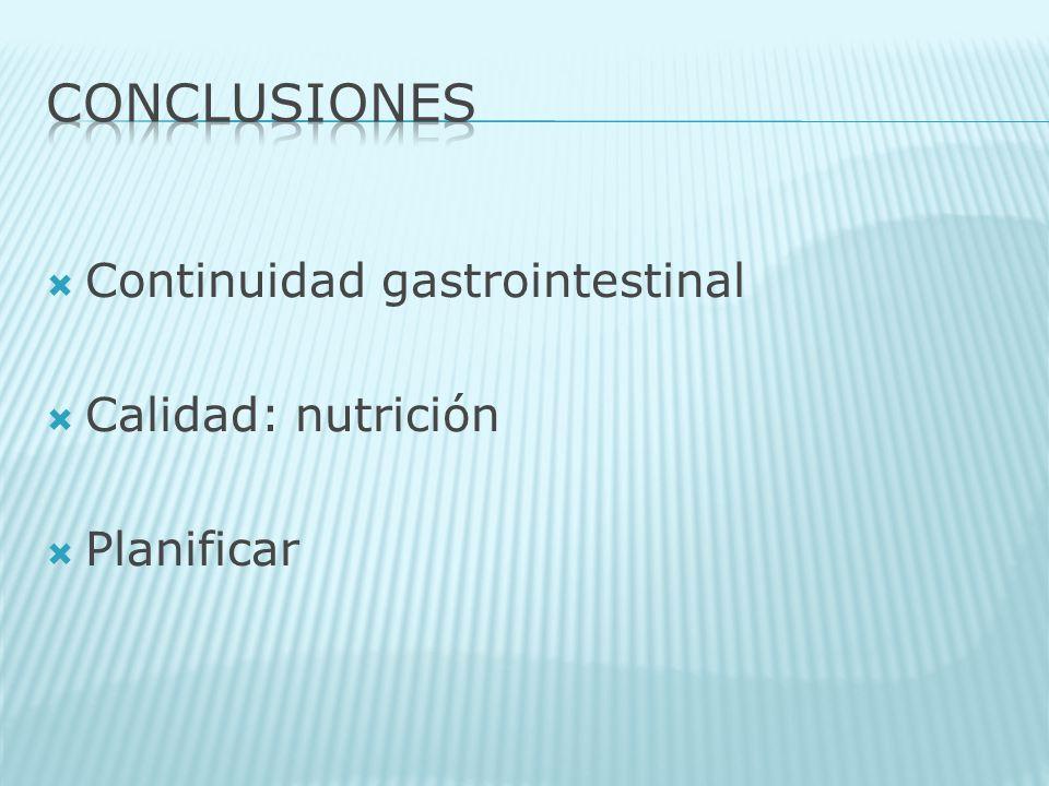 CONCLUSIONES Continuidad gastrointestinal Calidad: nutrición