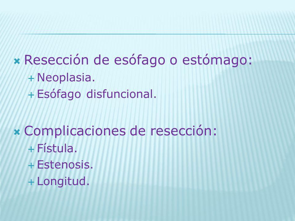 Resección de esófago o estómago: